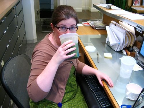 Kim wore green today to celebrate Juice Week
