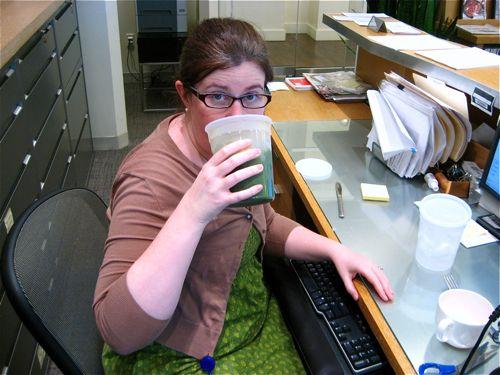 Kim wore green today to celebrate Juice Week