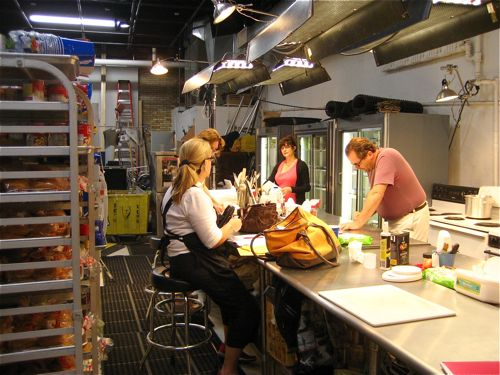Food Stylists (aka Food Floozies) at work.  Marilinda Hodgdon is in the back-right of the shot (facing us).