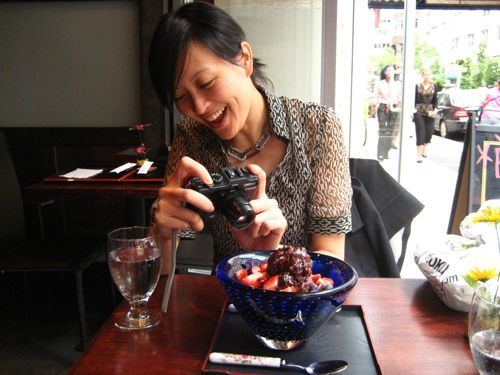 Tam photographing our dessert