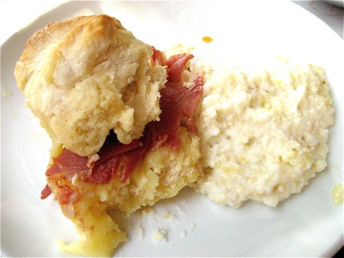 ham & cheese biscuit with a side of the best grits I've ever had