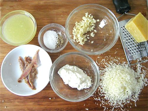 Some of the makings of low-fat caesar dressing